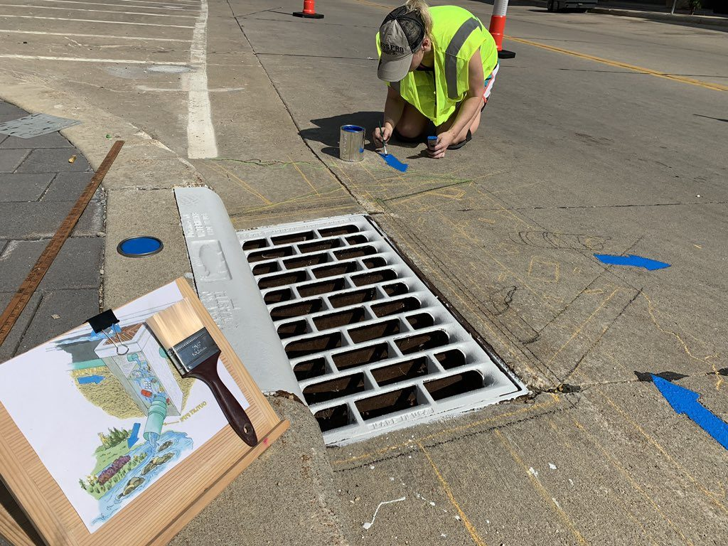Worcester works on storm drain art