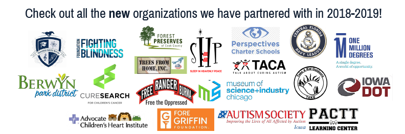 Image with header new organizations 2018-2019 showing various company logos