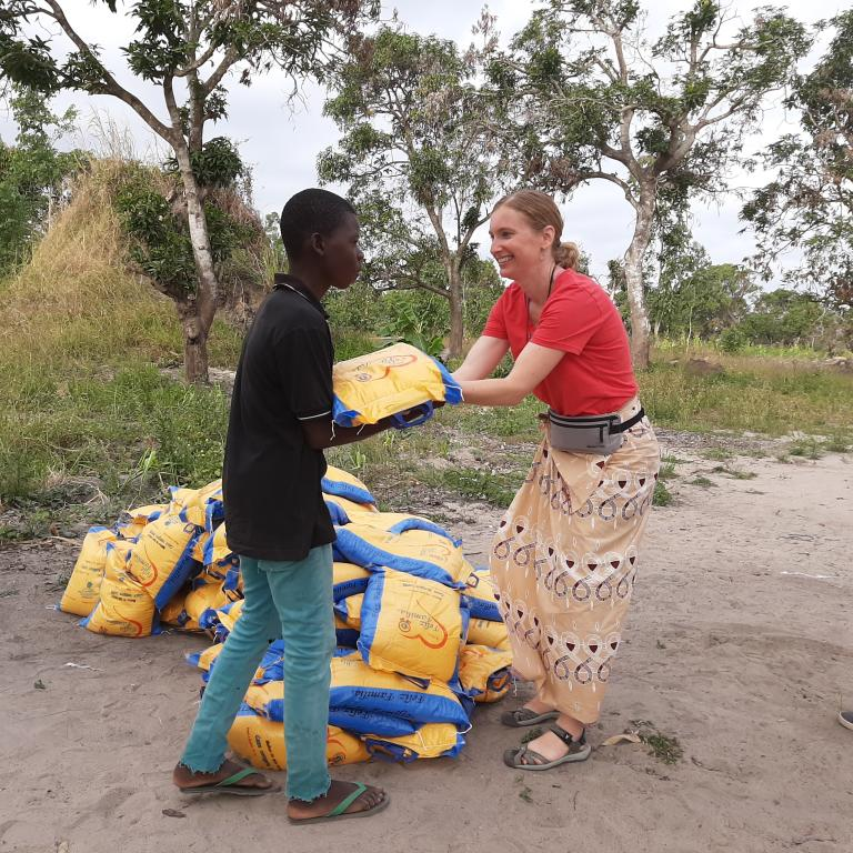 Ashbacker assists in distributing food in Mozambique